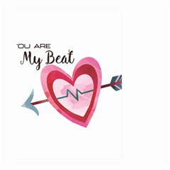 You Are My Beat / Pink And Teal Hearts Pattern (white)  Large Garden Flag (two Sides) by FashionFling