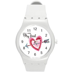 You Are My Beat / Pink And Teal Hearts Pattern (white)  Round Plastic Sport Watch (m) by FashionFling