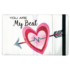 You Are My Beat / Pink And Teal Hearts Pattern (white)  Apple Ipad 3/4 Flip Case by FashionFling