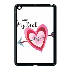 You Are My Beat / Pink And Teal Hearts Pattern (white)  Apple Ipad Mini Case (black) by FashionFling