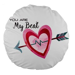 You Are My Beat / Pink And Teal Hearts Pattern (white)  Large 18  Premium Round Cushions by FashionFling
