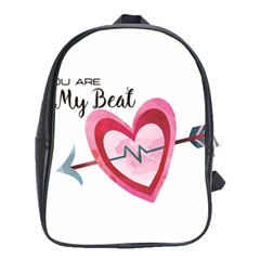 You Are My Beat / Pink And Teal Hearts Pattern (white)  School Bags (xl)  by FashionFling