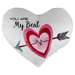 You Are My Beat / Pink And Teal Hearts Pattern (white)  Large 19  Premium Heart Shape Cushions