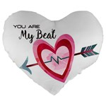 You Are My Beat / Pink And Teal Hearts Pattern (white)  Large 19  Premium Heart Shape Cushions Front