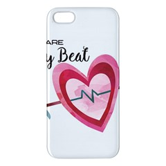 You Are My Beat / Pink And Teal Hearts Pattern (white)  Apple Iphone 5 Premium Hardshell Case by FashionFling