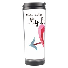 You Are My Beat / Pink And Teal Hearts Pattern (white)  Travel Tumbler by FashionFling