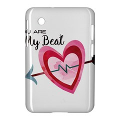 You Are My Beat / Pink And Teal Hearts Pattern (white)  Samsung Galaxy Tab 2 (7 ) P3100 Hardshell Case  by FashionFling