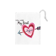 You Are My Beat / Pink And Teal Hearts Pattern (white)  Drawstring Pouches (small)  by FashionFling