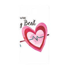 You Are My Beat / Pink And Teal Hearts Pattern (white)  Samsung Galaxy Alpha Hardshell Back Case by FashionFling