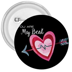 You Are My Beat / Pink And Teal Hearts Pattern (black)  3  Buttons by FashionFling