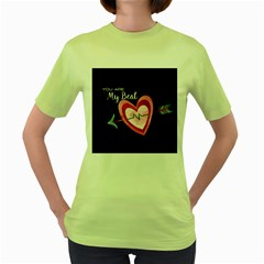 You Are My Beat / Pink And Teal Hearts Pattern (black)  Women s Green T-shirt by FashionFling