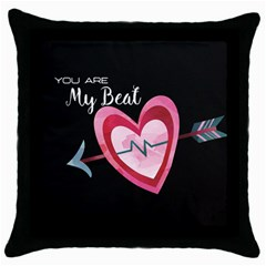 You Are My Beat / Pink And Teal Hearts Pattern (black)  Throw Pillow Case (black) by FashionFling