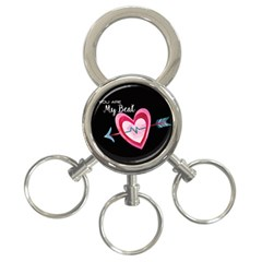You Are My Beat / Pink And Teal Hearts Pattern (black)  3 Ring Key Chains by FashionFling