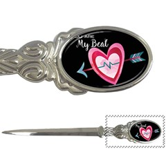 You Are My Beat / Pink And Teal Hearts Pattern (black)  Letter Openers by FashionFling