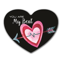 You Are My Beat / Pink And Teal Hearts Pattern (black)  Heart Mousepads by FashionFling
