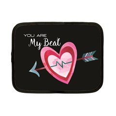 You Are My Beat / Pink And Teal Hearts Pattern (black)  Netbook Case (small)  by FashionFling