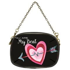 You Are My Beat / Pink And Teal Hearts Pattern (black)  Chain Purses (two Sides)  by FashionFling