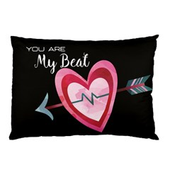 You Are My Beat / Pink And Teal Hearts Pattern (black)  Pillow Case by FashionFling