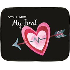 You Are My Beat / Pink And Teal Hearts Pattern (black)  Double Sided Fleece Blanket (mini)  by FashionFling