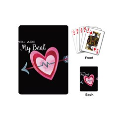 You Are My Beat / Pink And Teal Hearts Pattern (black)  Playing Cards (mini)  by FashionFling