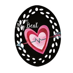 You Are My Beat / Pink And Teal Hearts Pattern (black)  Ornament (oval Filigree) by FashionFling