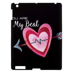 You Are My Beat / Pink And Teal Hearts Pattern (black)  Apple Ipad 3/4 Hardshell Case by FashionFling