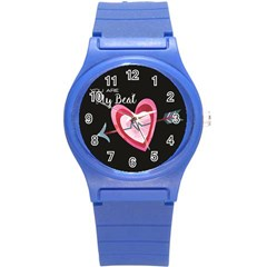 You Are My Beat / Pink And Teal Hearts Pattern (black)  Round Plastic Sport Watch (s) by FashionFling