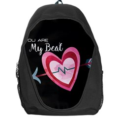 You Are My Beat / Pink And Teal Hearts Pattern (black)  Backpack Bag by FashionFling