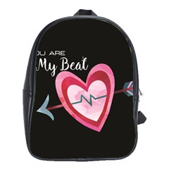 You Are My Beat / Pink And Teal Hearts Pattern (black)  School Bags (xl)  by FashionFling
