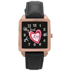You Are My Beat / Pink And Teal Hearts Pattern (black)  Rose Gold Leather Watch  by FashionFling