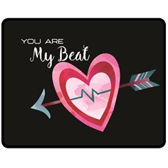 You Are My Beat / Pink And Teal Hearts Pattern (black)  Double Sided Fleece Blanket (medium)  by FashionFling
