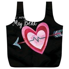 You Are My Beat / Pink And Teal Hearts Pattern (black)  Full Print Recycle Bags (l)  by FashionFling