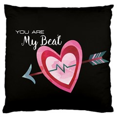 You Are My Beat / Pink And Teal Hearts Pattern (black)  Large Flano Cushion Case (two Sides) by FashionFling