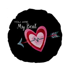 You Are My Beat / Pink And Teal Hearts Pattern (black)  Standard 15  Premium Flano Round Cushions by FashionFling