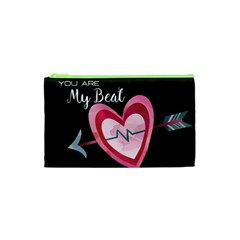 You Are My Beat / Pink And Teal Hearts Pattern (black)  Cosmetic Bag (xs) by FashionFling