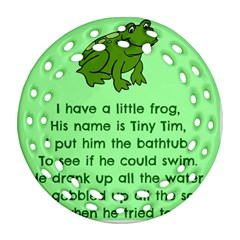 Little Frog Poem Round Filigree Ornament (two Sides) by athenastemple