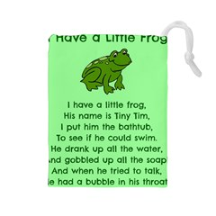 Little Frog Poem Drawstring Pouches (large)  by athenastemple
