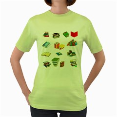 Bookworm Pattern Women s Green T Shirt by athenastemple