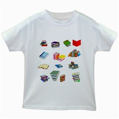 Bookworm Pattern Kids White T Shirts by athenastemple