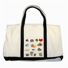 Bookworm Pattern Two Tone Tote Bag by athenastemple