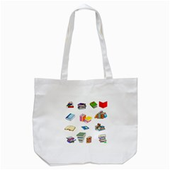 Bookworm Pattern Tote Bag (white) by athenastemple