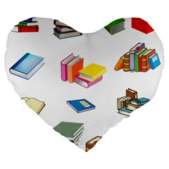 Bookworm Pattern Large 19  Premium Flano Heart Shape Cushions