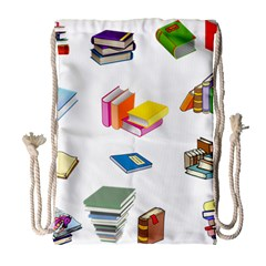 Bookworm Pattern Drawstring Bag (large) by athenastemple
