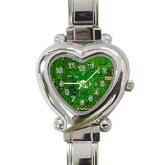 Circuit Board Heart Italian Charm Watch by Nexatart