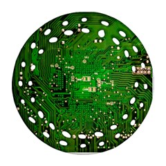 Circuit Board Ornament (round Filigree) by Nexatart