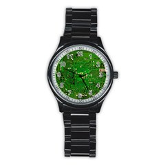 Circuit Board Stainless Steel Round Watch by Nexatart
