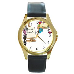 Mom Round Gold Metal Watch by athenastemple