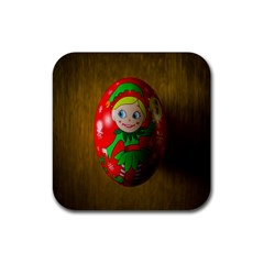 Christmas Wreath Ball Decoration Rubber Square Coaster (4 Pack)  by Nexatart