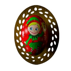 Christmas Wreath Ball Decoration Ornament (oval Filigree)
