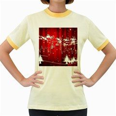 City Nicholas Reindeer View Women s Fitted Ringer T Shirts